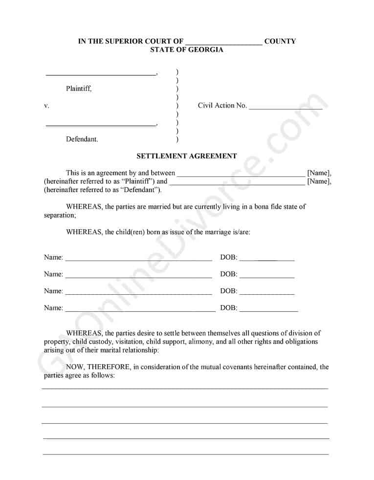 settlement agreement with children diy