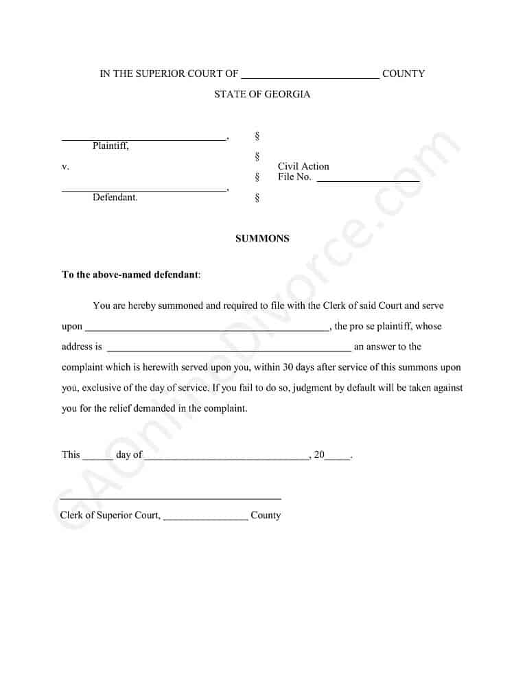 summons in the superior court diy