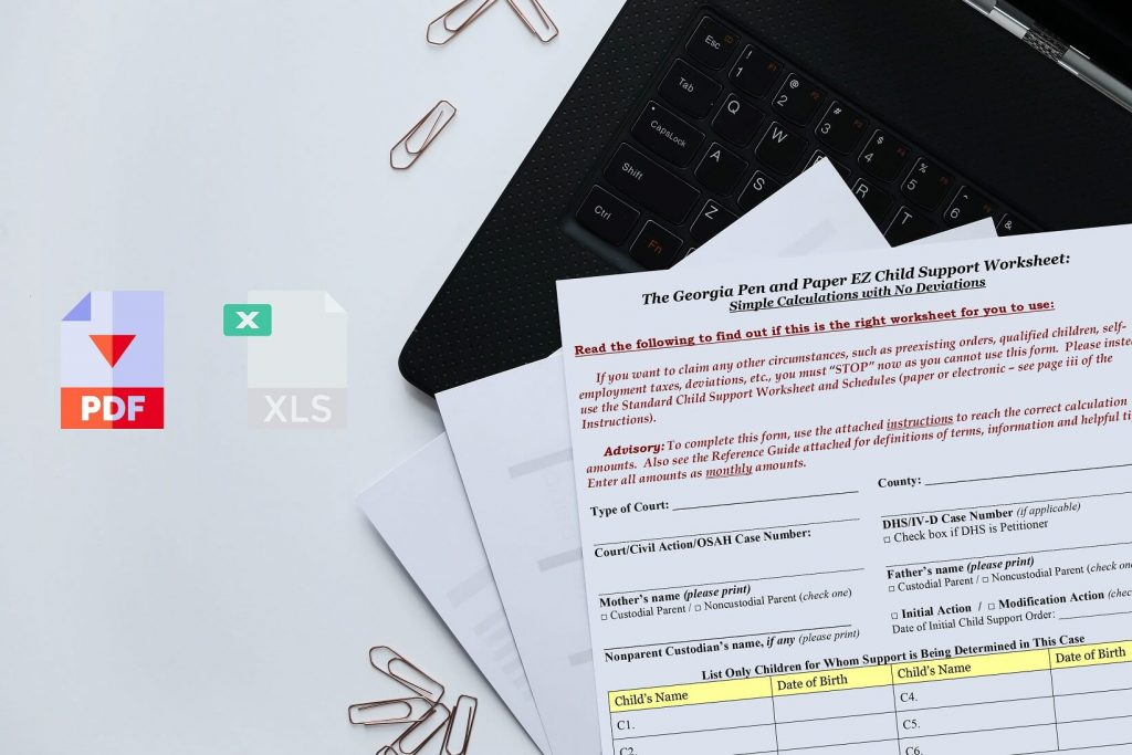 Georgia Child Support Worksheet PDF
